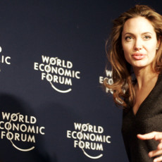 American actress and UN Goodwill Ambassador Angelina Jolie waits for the start of a media conference at the World Economic Forum in Davos, Switzerland, Saturday Jan. 29, 2005. (AP Photo/Michel Euler) SWITZERLAND WORLD ECONOMIC FORUM